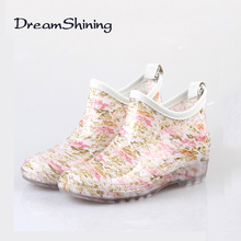 DreamShiningHot Sales  Fashion Boots  PVC Polymer Rubber And Synthetic Material Floral Rainboots Waterproof Water Shoes Wellies