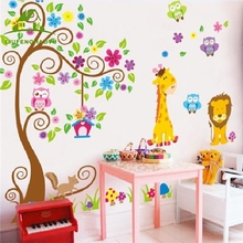 Animal giraffe owl tree wall decals home decoration wallpaper living room sofa vinyl wall stickers for kids rooms home decor(China)