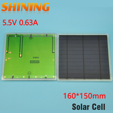 2Pcs/lot Wholesale Free Shipping 3.5W Solar Cell Polycrystalline Solar Panel 160*150mm For DIY Study Charging Education Kits