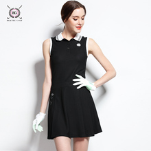 girl golf dress lady clothes women's spring or summer one-piece dress golf sports apparel top design 3 colors Black pink jersey