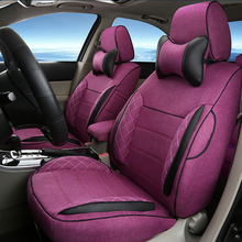 Classic Seats Covers for Volkswagen VW Caravelle Cover Seat Cushion Accessories Set Linen Cloth Car Seat Cover Airbag Compatible