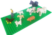 Zoo Farm life Animal pig cat monkey cow horse bird farmland accessory bricklink building block brick assemble particles brickset(China)