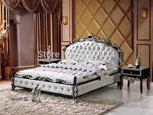 Bedroom furniture king size large soft bed leather plush Flash grand soft leather bed D518(China)