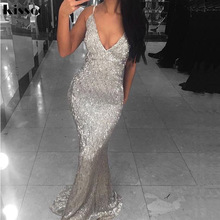 Sexy Strapless V Neck Bodycon Silver Sequin Long Dress Backless Floor Length Lining Club Dress Sleeveless Open Back Party Dress
