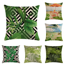 Tropical Leaf Printed Cotton Linen Cushion Cover Tropical Umbrella Home Decor Pillowcase Octopus Sofa Bedding Cushion Case(China)