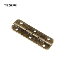 2017 Limited Top Fashion Furniture Hinges Blum 50pcs 50*15mm Antique Wooden Gift Box Hinge 6 Hole Hinges For Jewelry Boxes(China)