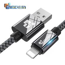 TIEGEM USB Cable for iPhone 7 6 6s 5 2a Fast Charging USB Data Cable for iPhone 8 X iPad iPod Mobile Phone Cables Wire 1m 2m 3m(China)