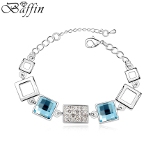 Vintage Crystal Square Charm Bracelets For Women Accessories Fashion Pulseiras Made With SWAROVSKI Elements