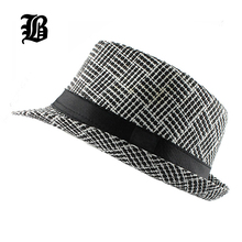 [FLB] Trendy Unisex Side Fedora Trilby Gangster Cap For Women men Summer Beach Sun Straw Panama Hat Men Fashion lattice Hats(China)