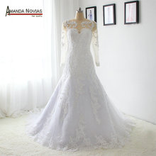 New Arrival Lace Patterns Shinny Tulle Mermaid Long Sleeve Wedding Dress
