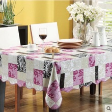Flannel Backed Vinyl PVC Tablecloth Plastic Waterproof Table Cloth Spread Cover Rectangular Square  106-203cm 4 Sizes