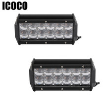 ICOCO 2 Pcs 7 Inch Dual Row 5D LED 12V Car Work Light off-road Auxiliary Spotlight Floodlight for Jeep Toyota SUV 4WD Boat Truck