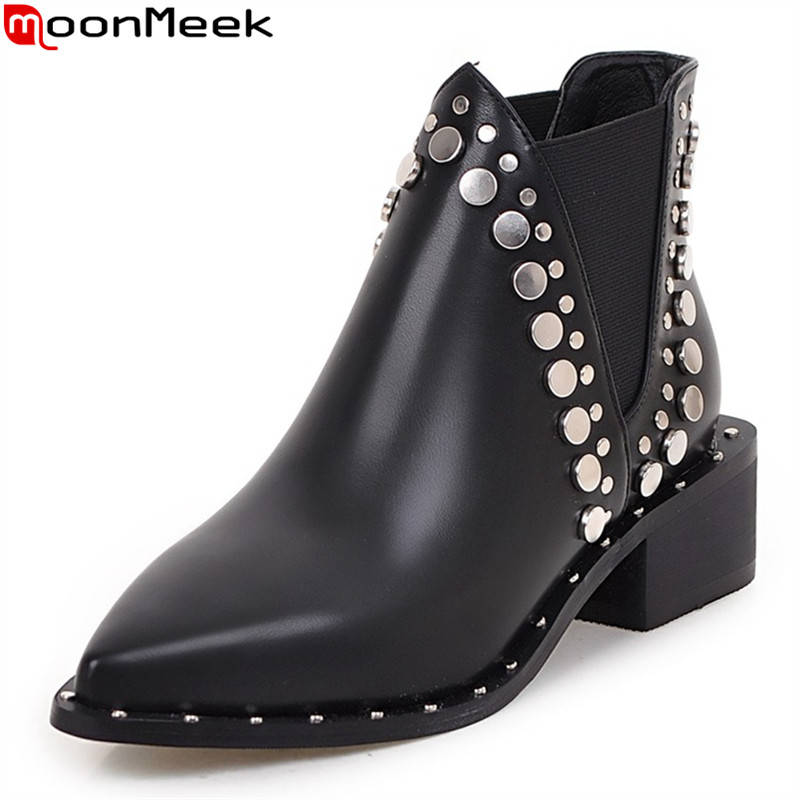 MoonMeek 2017 hot sale new arrive women boots pointed toe black ankle boots fashion rivet autumn winter boots woman<br>