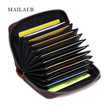 MAILAER New men's multi-functional leather organ bag bag men and women leather card bags bank card folder(China)