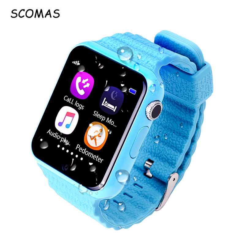 SCOMAS V7K Kids GPS Smart Watch Children Security Anti-Lost Phone Smartwatch Touch Screen With Camera SOS Baby Wristwatch<br>