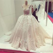 Buy Real Photo Ball Gown Wedding Dresses Gowns Sexy Sheer Neck Beaded Lace Ivory African Wedding Dress Long Train Robe De Mariage for $192.40 in AliExpress store