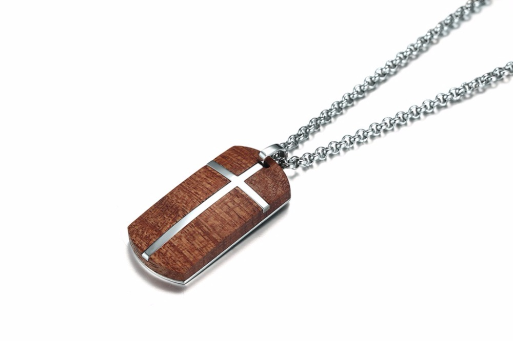 Unique Mens Necklaces Hand Crafted Rosewood Cross Inlay Pendant Necklace Men Wood Jewelry with Stainless Steel 24_ Chain collares collier colar kolye collane 15