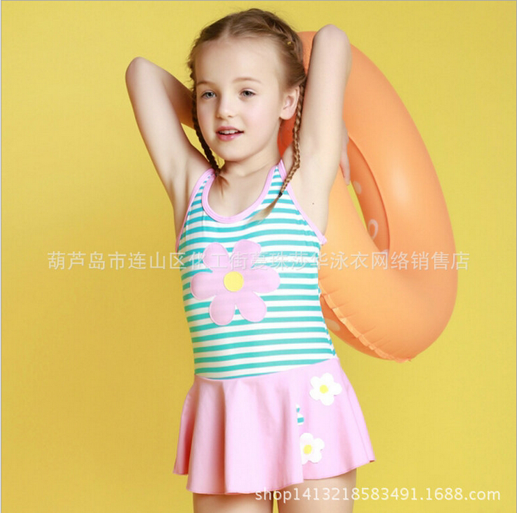 2016 Baby Girl One-pieces Swimsuits Print Striped Floral Beach Wear Child Lovely Cute Swimwear Back Hollow Out Banador EF639<br>