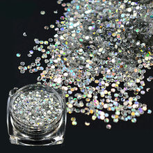 2017 NEW 1 Bottle Sparkly Thin Paillette Nail Art Laser Mini Round Glitter 3D Slice Tips DIY Decoration Glitter BEY09
