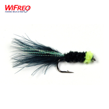 10PCS Wifreo Egg Sucking Leech Fly Black Color Marabou with Flashabou Trout Fishing Streamer Size # 6 Free Box