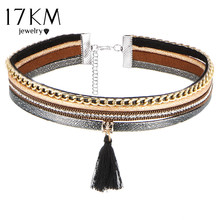 17KM 2 Style Tassel Choker Statement Necklace for Women New Maxi Crystal Chocker Love Steampunk Necklace Collier Bride Jewellery