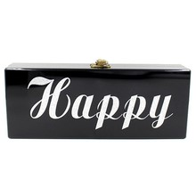 2017New women evening bag happy transparent night letter acrylic bag clutch bags with chains shoulder bag