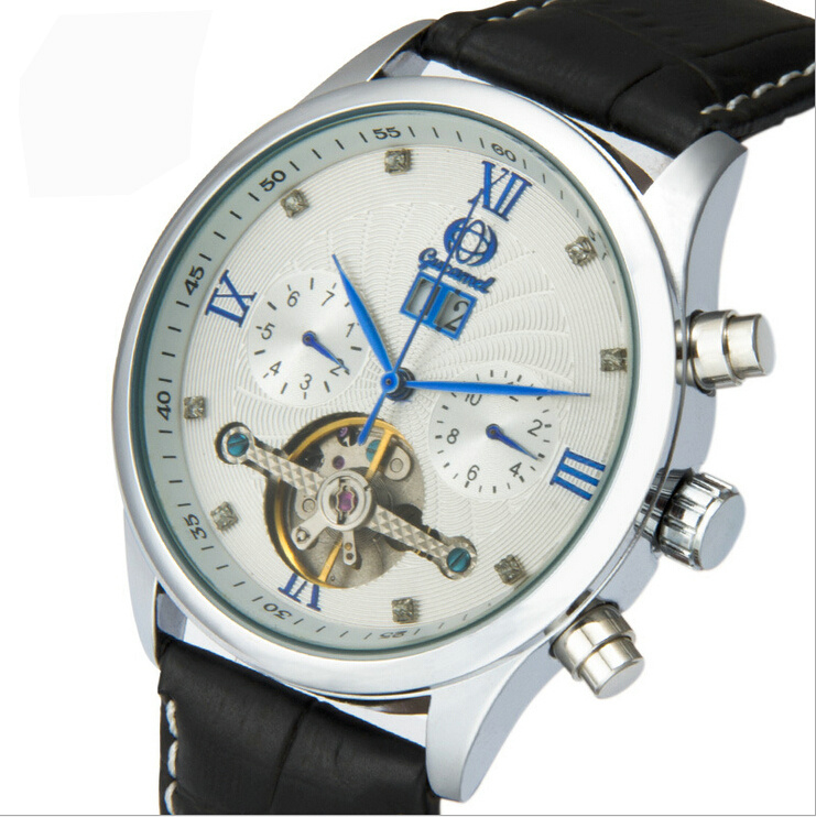 Automatic Mechanical Watch Business Mens Hollow Mineral Glass Stainless steel/Leather Strap With calendar display month week<br><br>Aliexpress