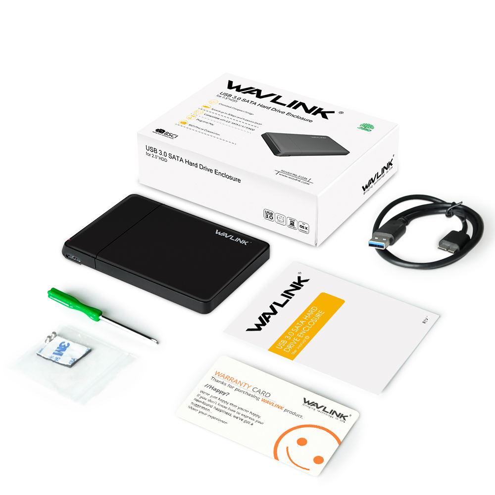Hottest Wavlink SATA USB 3.0 Hard Drive Enclosure External Case for 7mm 9.5mm 2.5 Inch SATA/HDD/SSD With USB Cable &Screwdriver