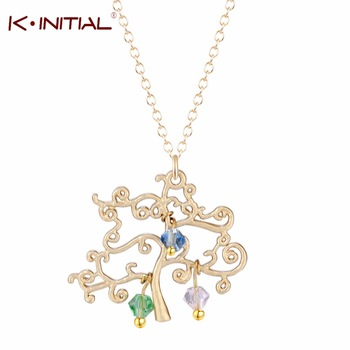 1Pcs Trendy Family Tree Necklace with Birthstones&Names Gold Silver Tree Pendant Mom /Grandma Necklace Pendant Mother