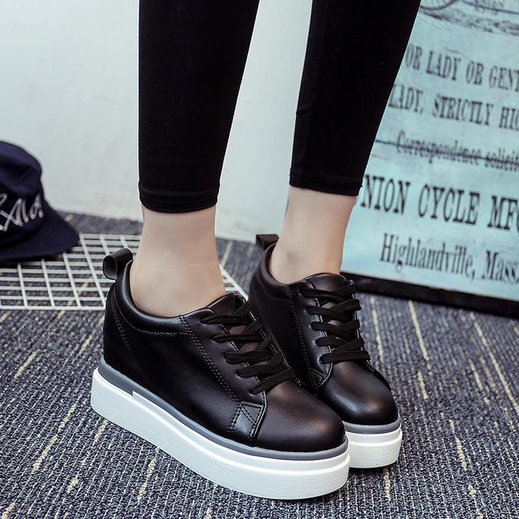 New Arrival  2017 Autumn Increased Thick Casual Shoes Bottom Ultra-high with Wedges Platform Shoes with Solid White Shoes<br><br>Aliexpress