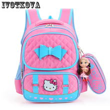 IVOTKOVA New Backpack Child School Pack Cartoon Hello Kitty Backpack Kid Kindergarten School bag Kid Mochila Infantil