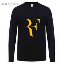 New  Long sleeve cotton Tops Men's Fashion Roger Federer t shirts Perfect Letters Design t-shirt 2017 autumn Cotton casual Shirt