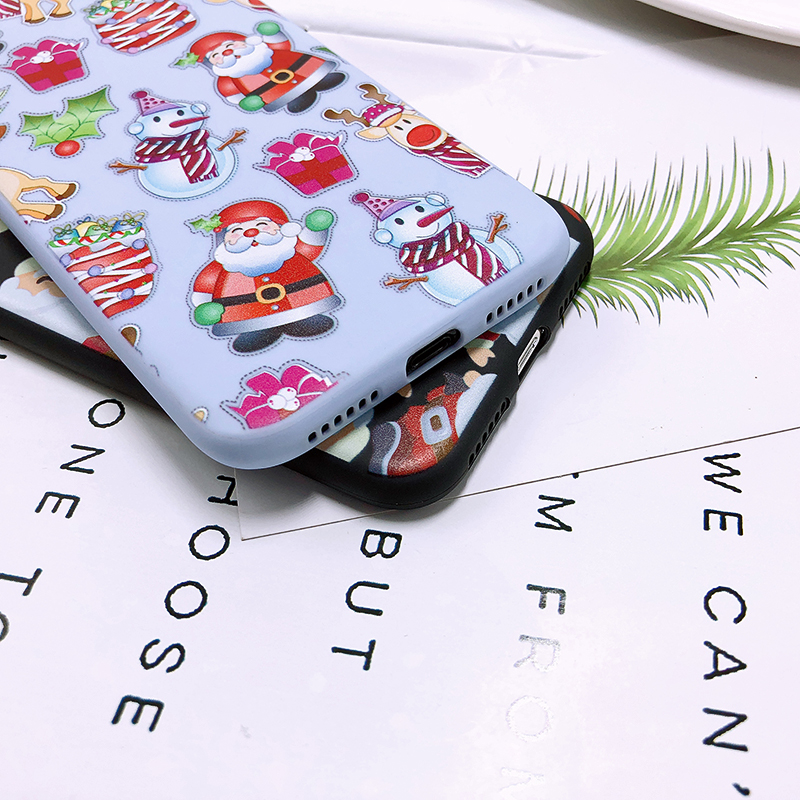 Phone Case For iPhone 7 5 S 5S SE 6 6s 7 8 Plus X XR XS Max Fashion Cute Cartoon Christmas Lovely Santa Claus Elk Soft TPU Cover (24)