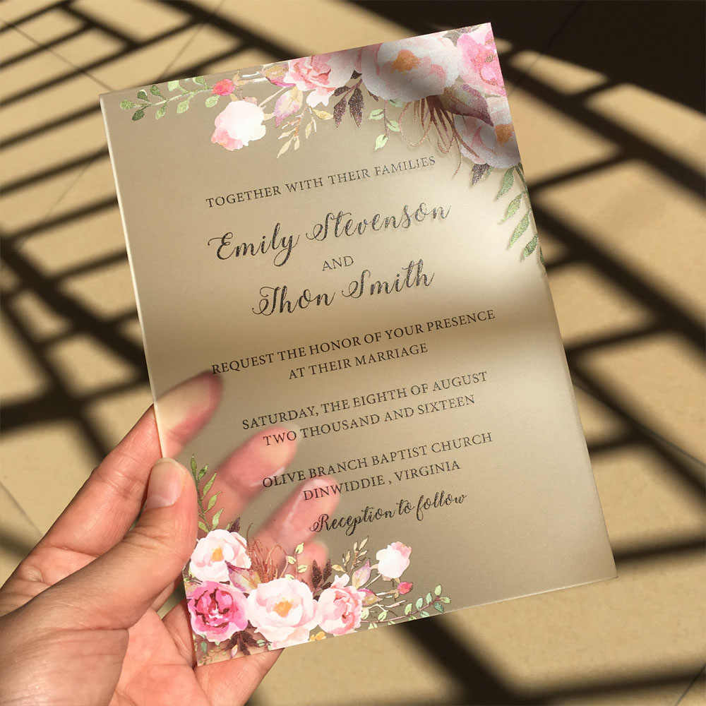 Customized 50pcs per Lot Rustic Watercolor Style 5x7inch Frosted Acrylic Wedding Invitation Cards Ship to Australia Only