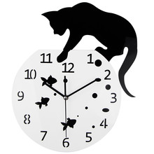 3D Home Decor Acrylic Wall Clock Cat and Fish Design Big Watch Quartz Cat Clock Living Room Decorative clocks(China)