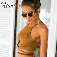 UANLOE Vintage Brown Faux Leather Suede Cropped Tank Top Sexy Lace Up Camis Women Tops Slim Cami Party Crop Top Fall Vest 70's