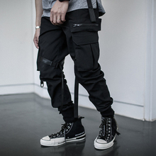Nopnogn ribbons hip hop cargo pants multi pockets casual joggers men black streetwear