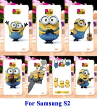 Hard Plastic and Soft TPU Phone Cover For Samsung Galaxy SII I9100 S2 Cases DIY Painted Yellow Lovely Minions Cell Phone Bags
