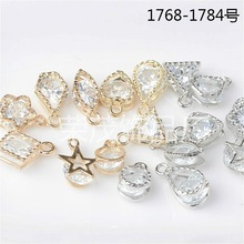 50pcs Fashion Jewelry floating charms Star Heart Gold/silver color Zircon imitation Crystal charm For Women Accessory Jewelry