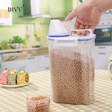 DIVV 2L Portable Plastic Food Storage Box With Measuring Cup Nice For Food Grain Rice Container 1pc