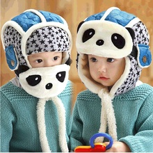 Winter Baby Child Panda Hats Toddler Boy Girl Face Mask Caps Warm Helmet Hats Children Thick Fleece Warm Ear Protection Cap