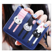navy blue women wallets pu leather womens wallet little girl purses short small female purse cute money bag birthday gift kids(China)