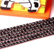 Special wholesale 2.1mm-3mm 10yards black base Black Diamond Rhinestone Chain