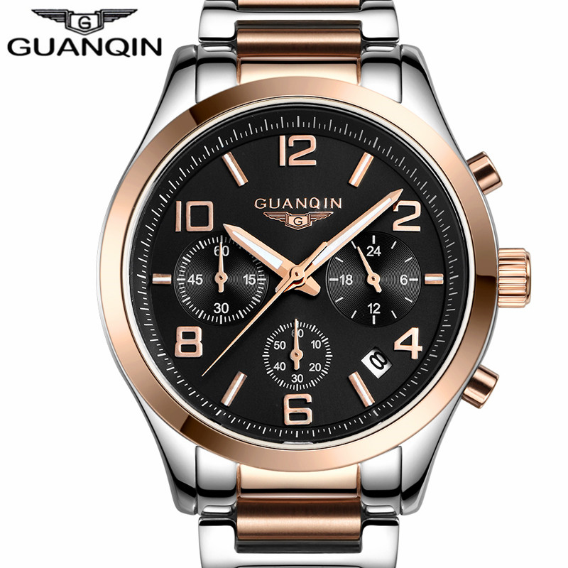GUANQIN Men Business watch Luminous Multifunctional Wristwatch Mens Luxury Brand Stainless Steel Quartz Watch Male clock hours<br>