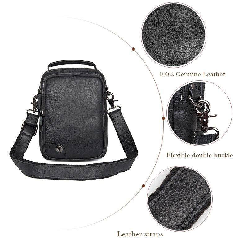 J.M.D J.M.D  Genuine Tanned Leather Black Sling Bag For Mens Shoulder Bags Messenger Bag 1007A<br>