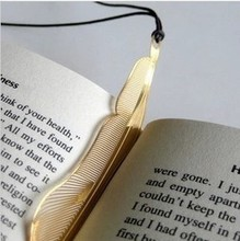 Creative stainless steel metal golden feather Bookmarks Starbucks / gift bookmark, 20pcs/lot, wholesale