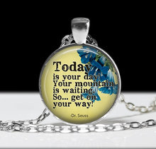2017 new hot Sayings Joyas Dr. Seuss Pendant Charm Inspirational Colares Pixie Dust Glass Dome Long Necklace