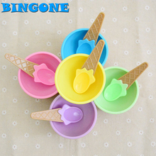 1x Bingone Children's Plastic Ice Cream Bowl Spoon Set Durable ICE Cream CUP For KIds Couples Tubs Gifts Lovely Dessert Bowl -48(China)