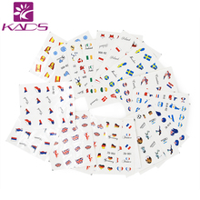 KADS Must Have!! 50pcs/set Nail Transfer Decals National Flag Design Nail Art Water Stickers Beauty Nail Decorations Tool(China)