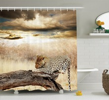Safari Decor Shower Curtain Leopard Resting Under Dramatic Cloudy Sky Africa Safari Wild Cats Nature Picture Print Bathroom